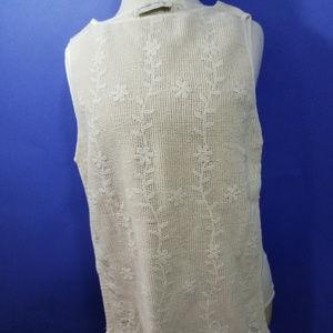 Creamy Faux Crochet Abercrombie Cotton BOHO XS